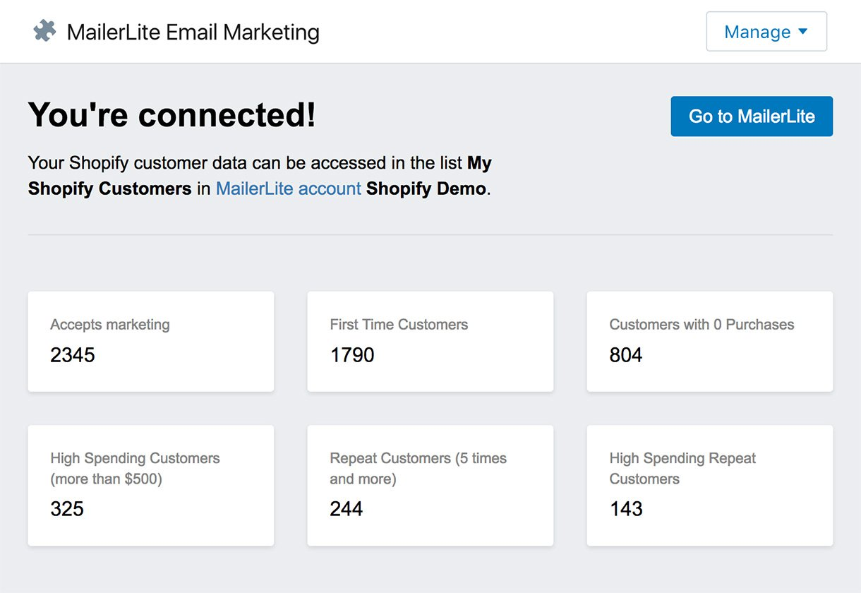 Shopify segments - email marketing - mailerlite