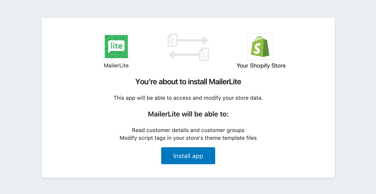 shopify app integration with mailerlite