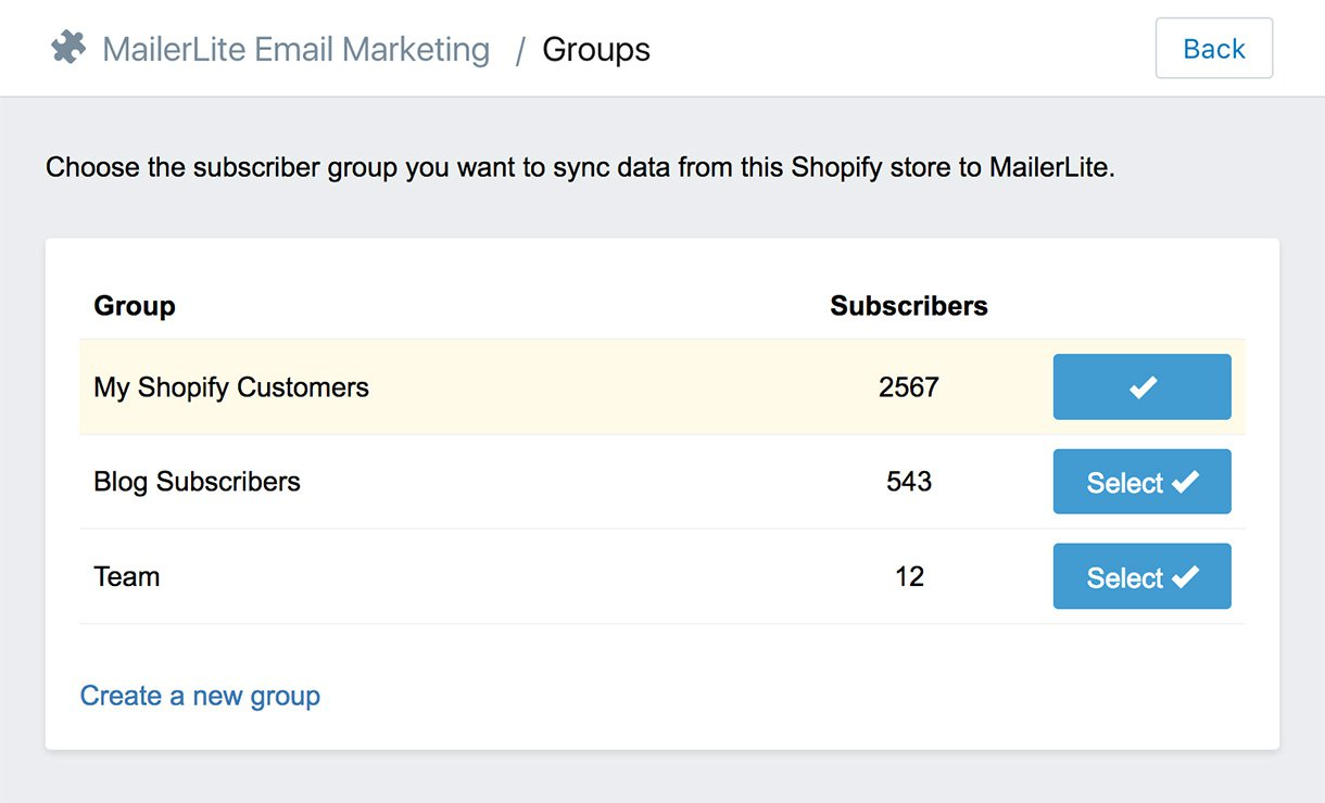 Shopify app - choose subscribers - email marketing