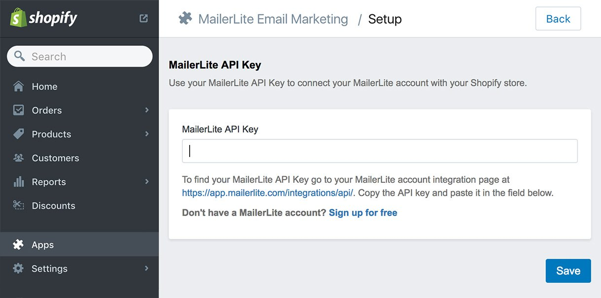 Shopify MailerLite enter api key