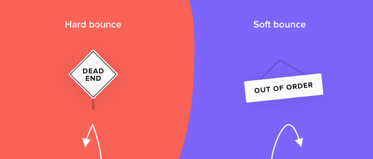 hard vs soft bounce comparison red purple signs - MailerLite