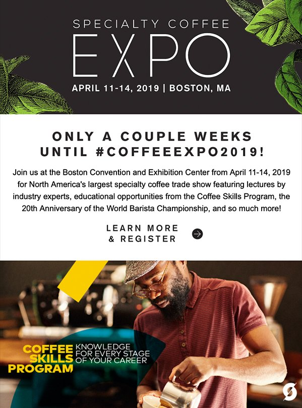 Event newsletter - Specialty Coffee Association example