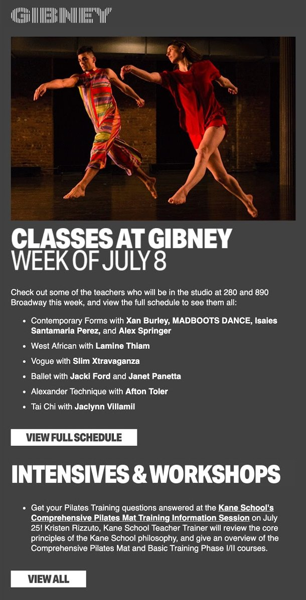 Gibney fitness newsletter email with video example grey background white text