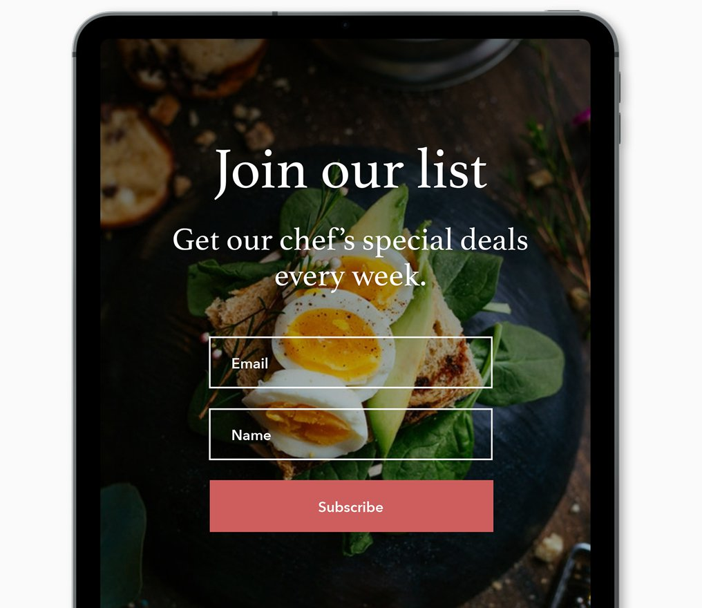 restaurant email list building - Offline sign up example