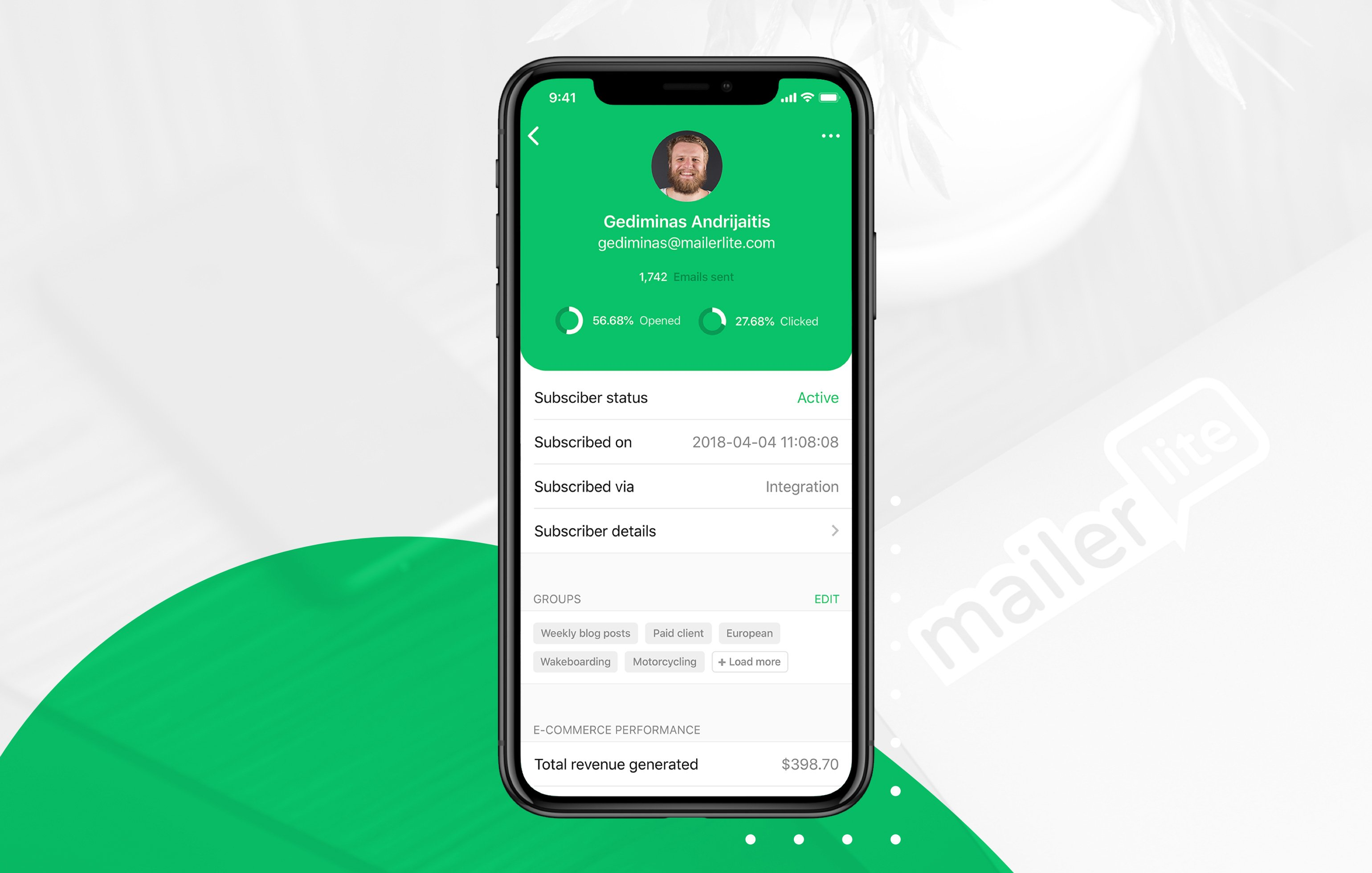 mailerlite iphone app - subscribers