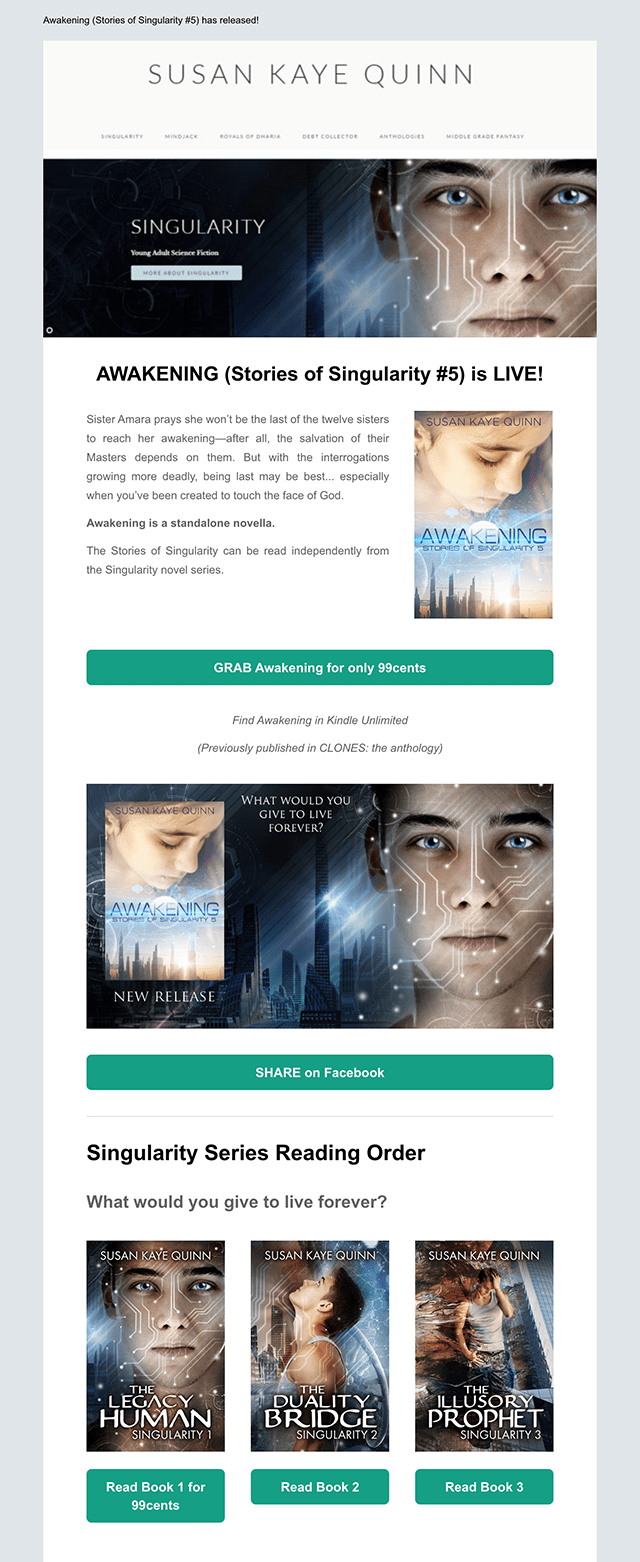 Author Newsletter Example 8