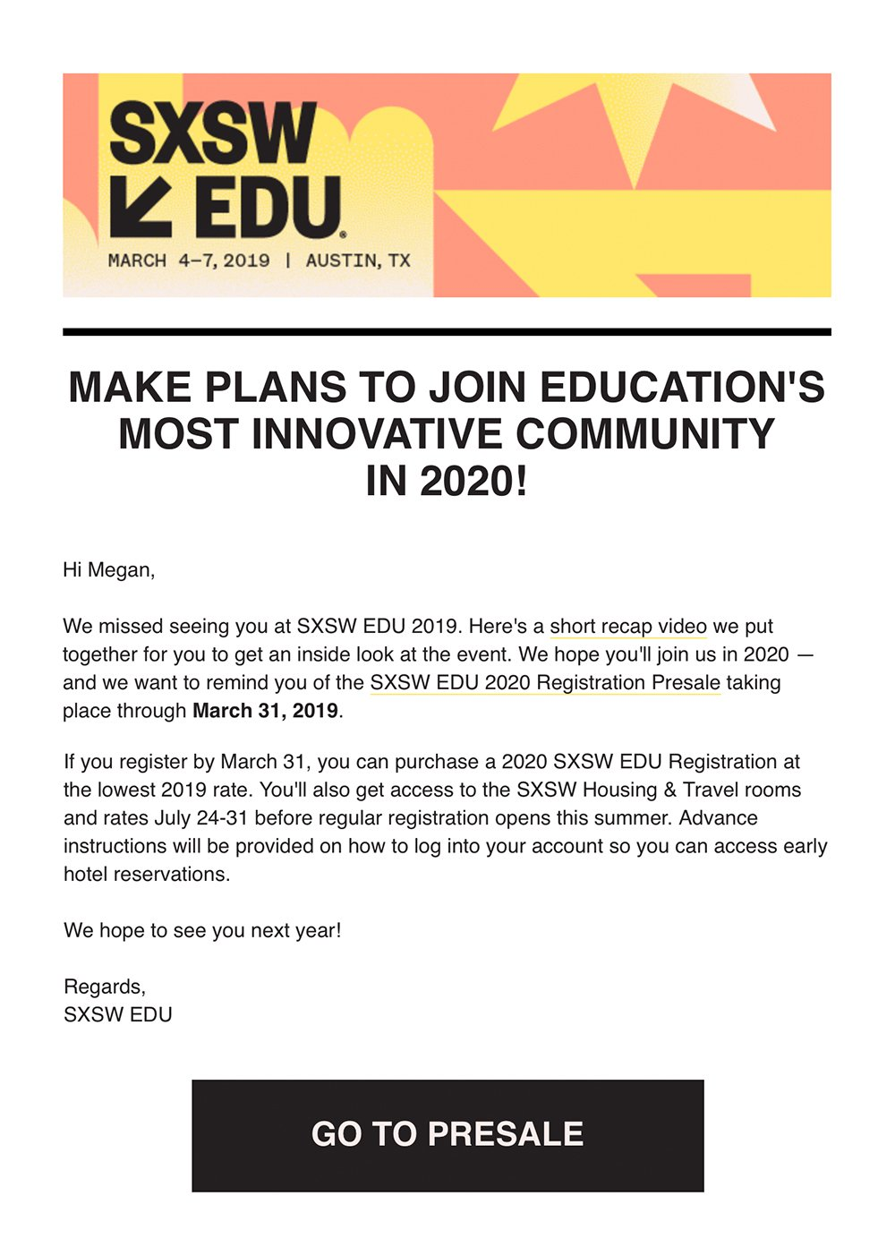 Event newsletter - SXSW EDU post-event email example