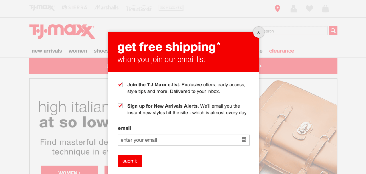 T.J. Maxx signup form example