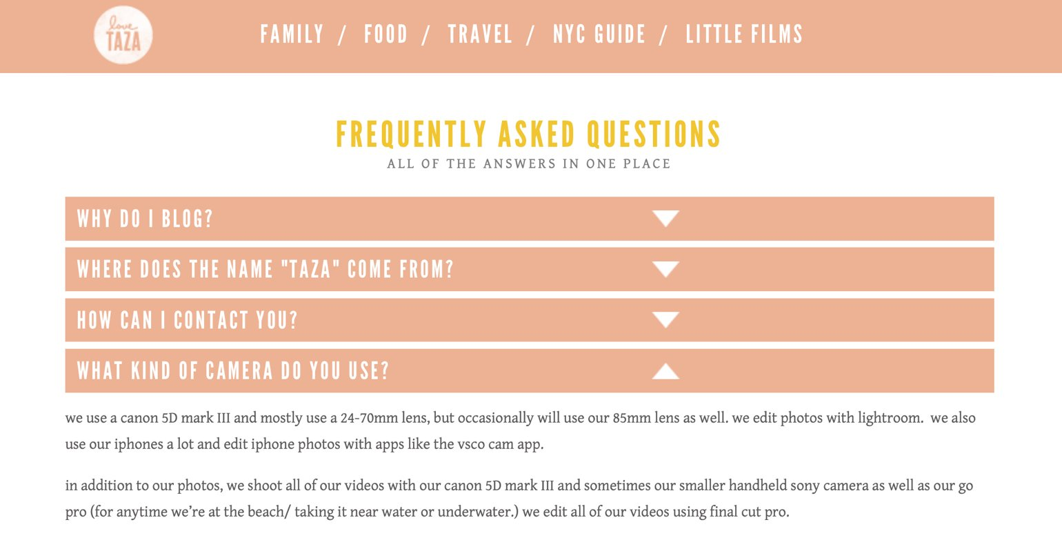 Love Taza FAQ website element example