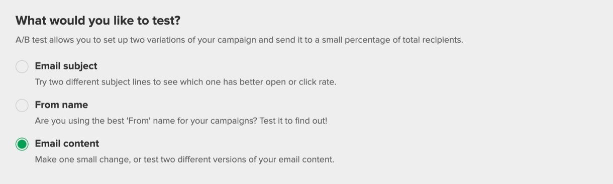 a/b test email content