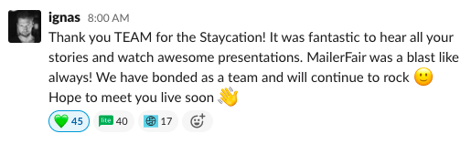 MailerLite CEO message on Slack