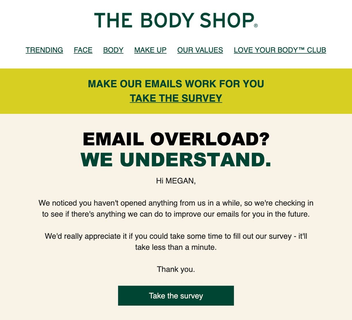 The Body Shop personalization example