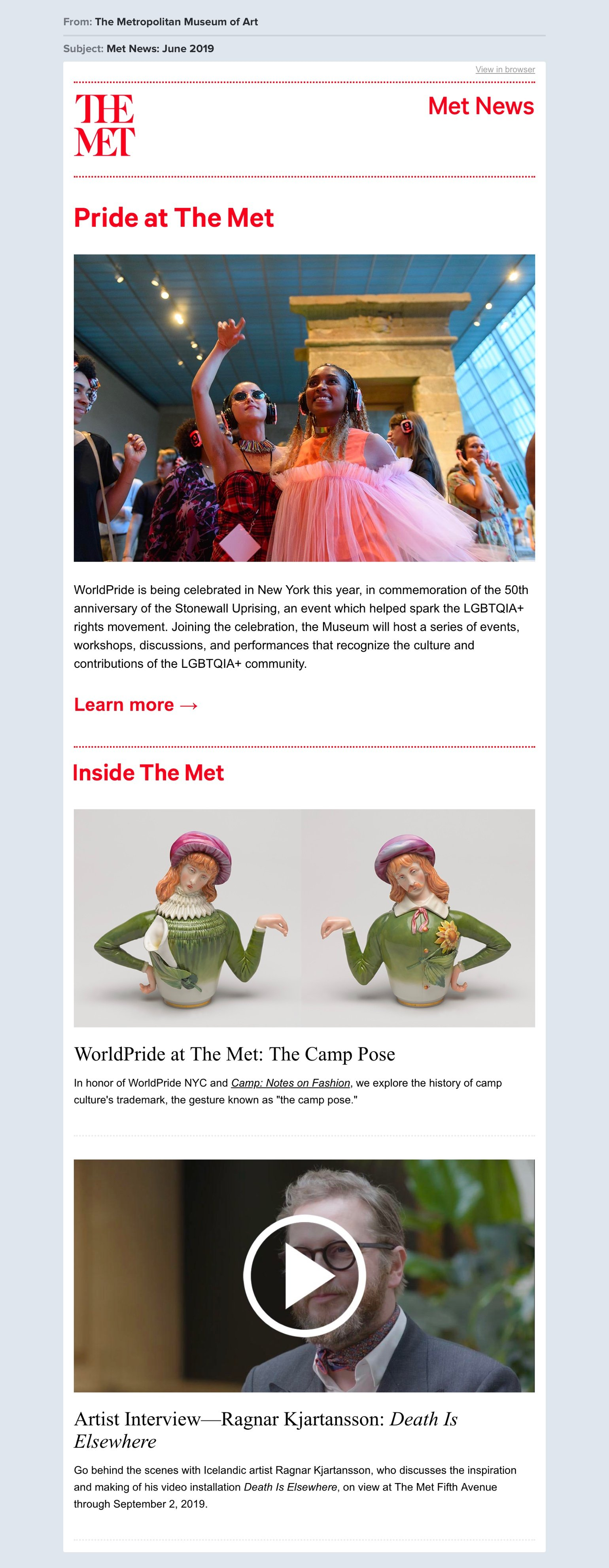 The Met newsletter