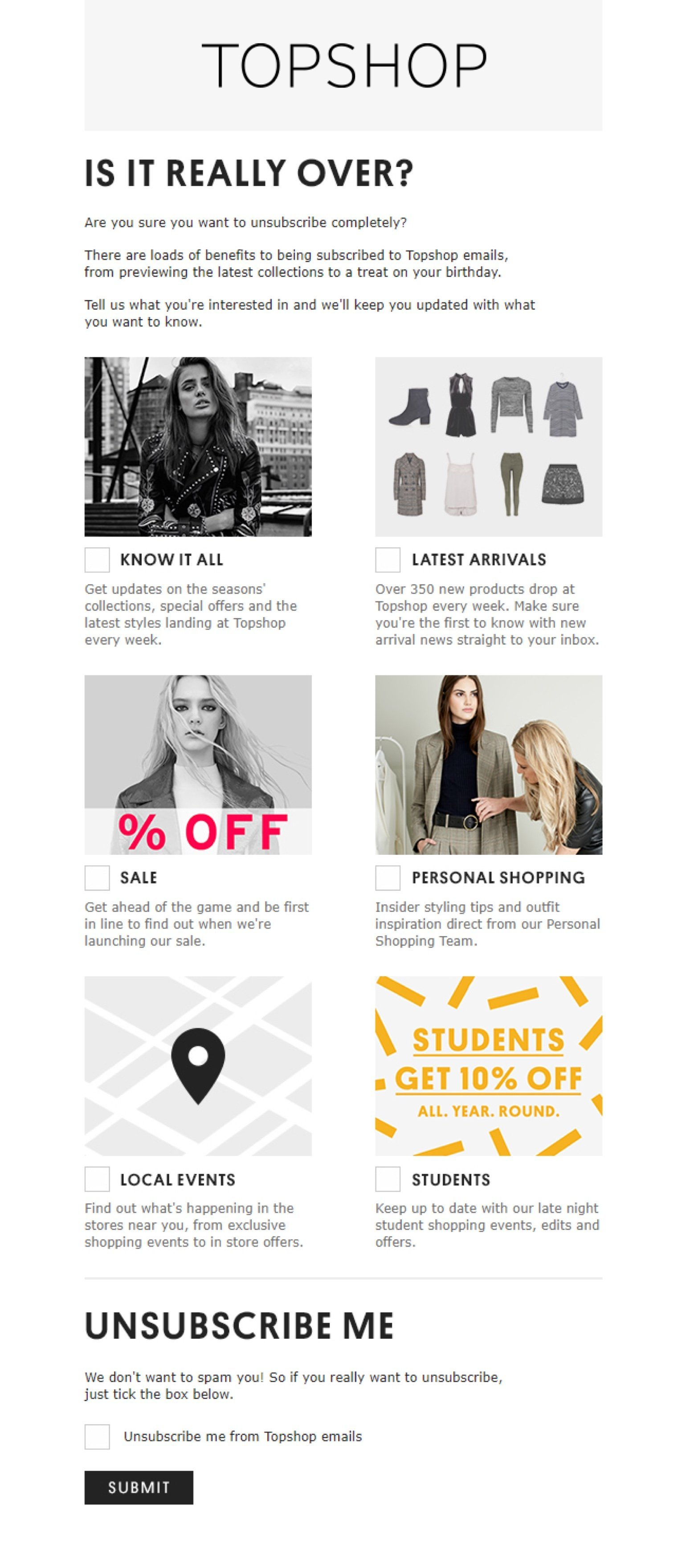 Topshop unsubscribe page example