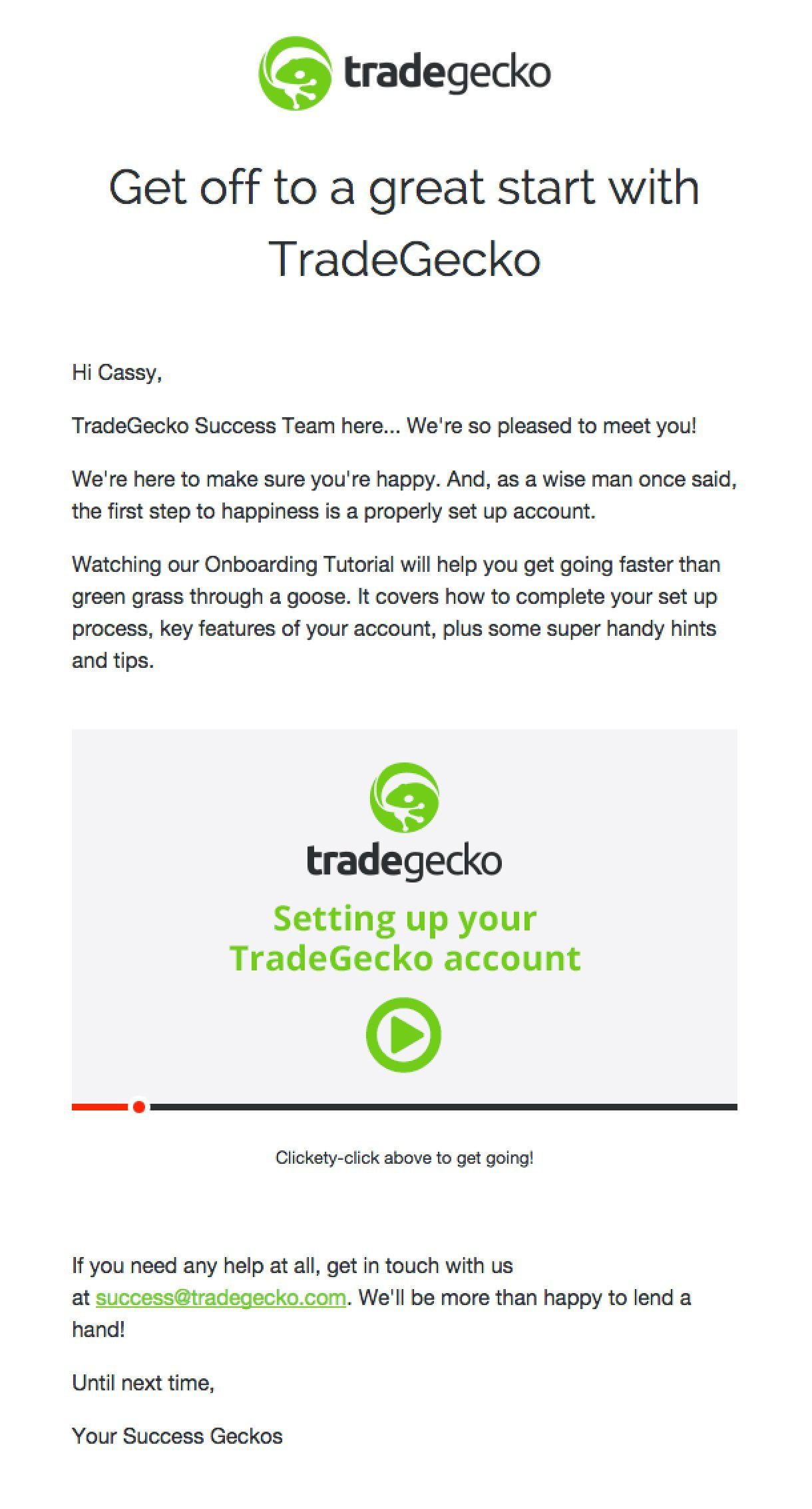 TradeGecko welcome email example bright green colours