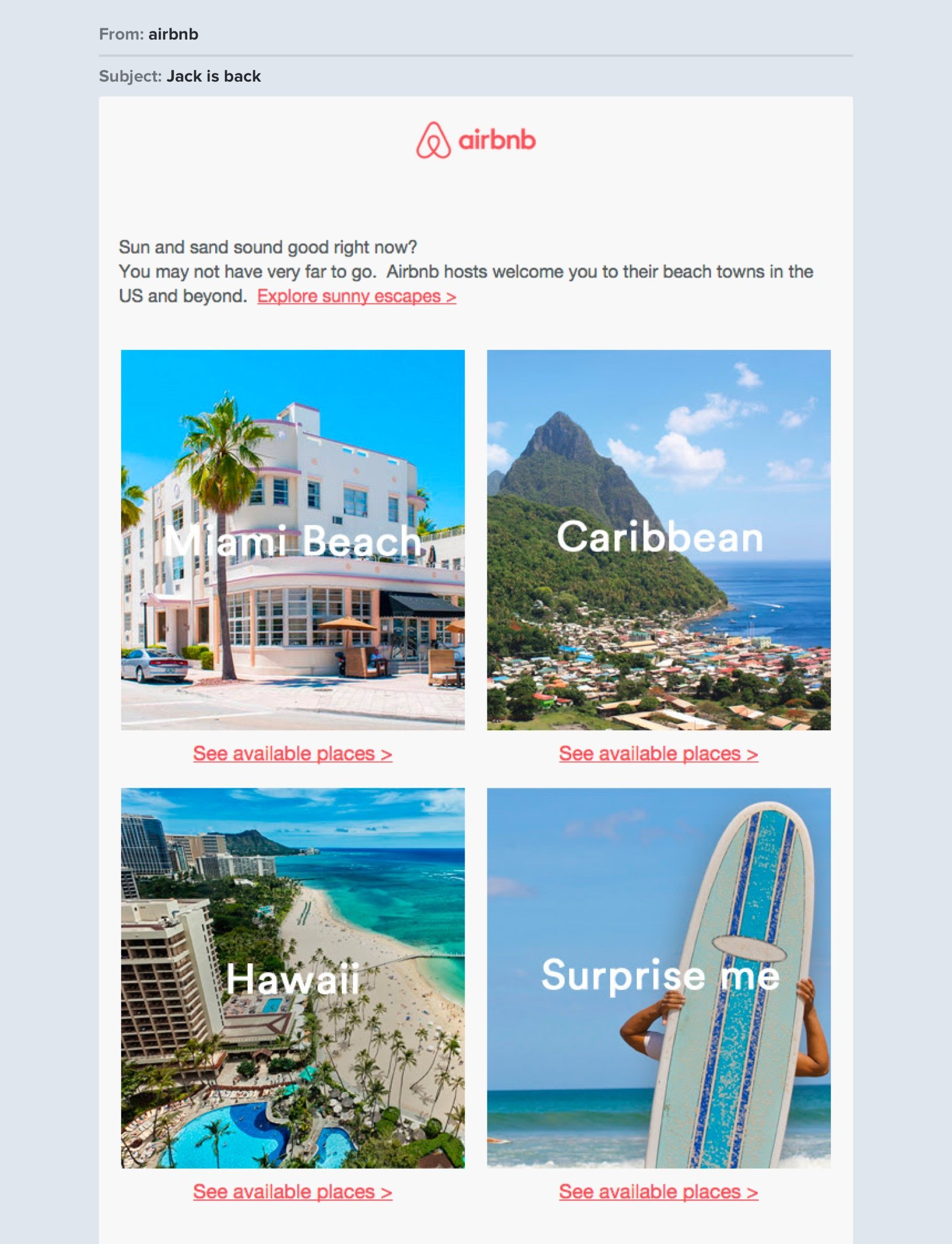Airbnb travel newsletter example