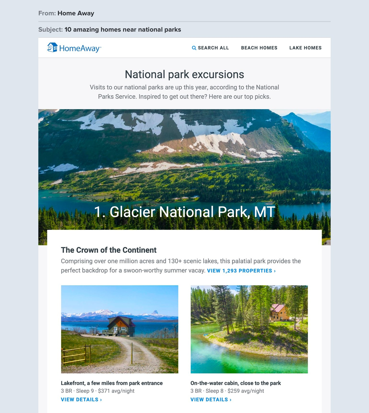 HomeAway travel newsletter example