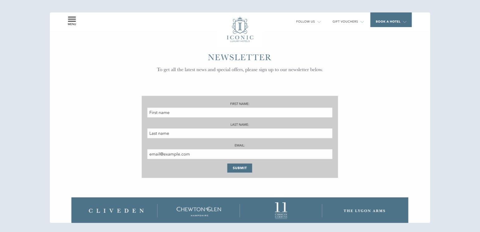 Iconic Luxury Hotel signup form example