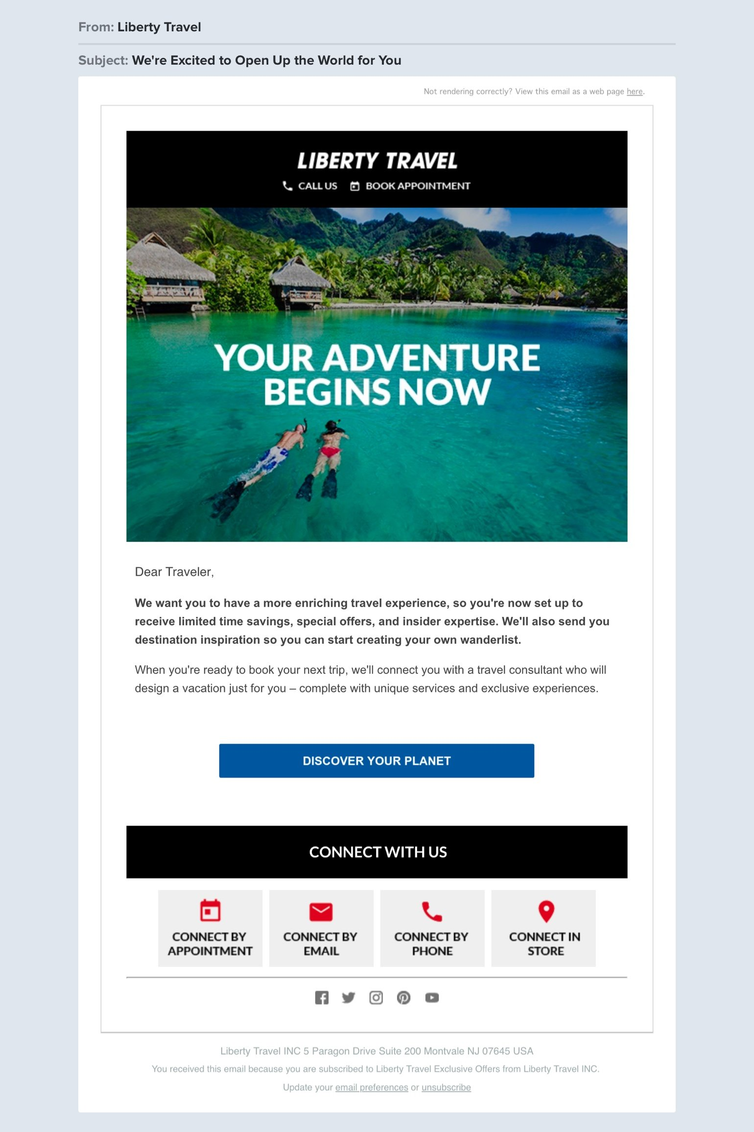 Liberty Travel welcome email example