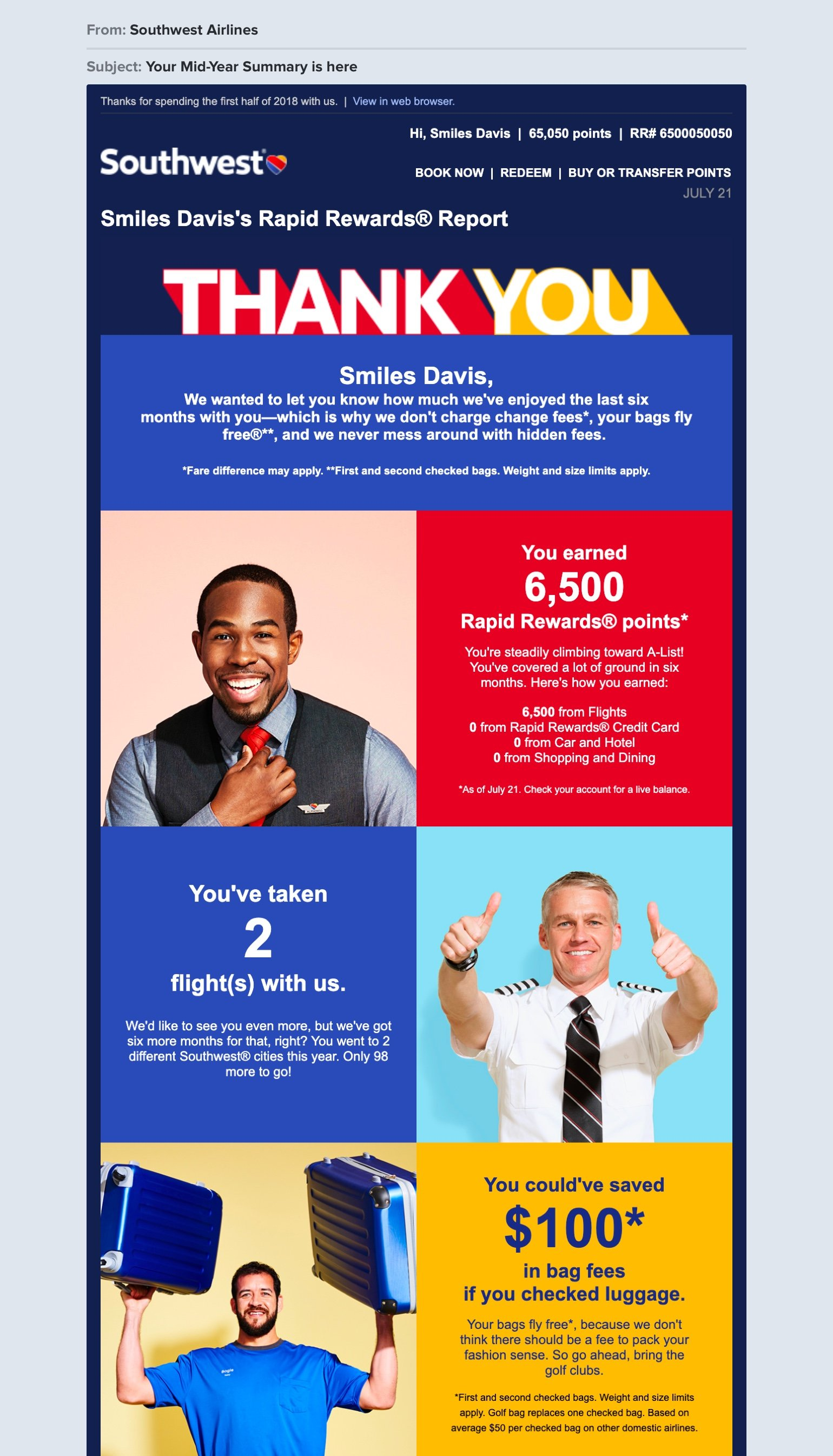 Southwest Airlines newsletter example