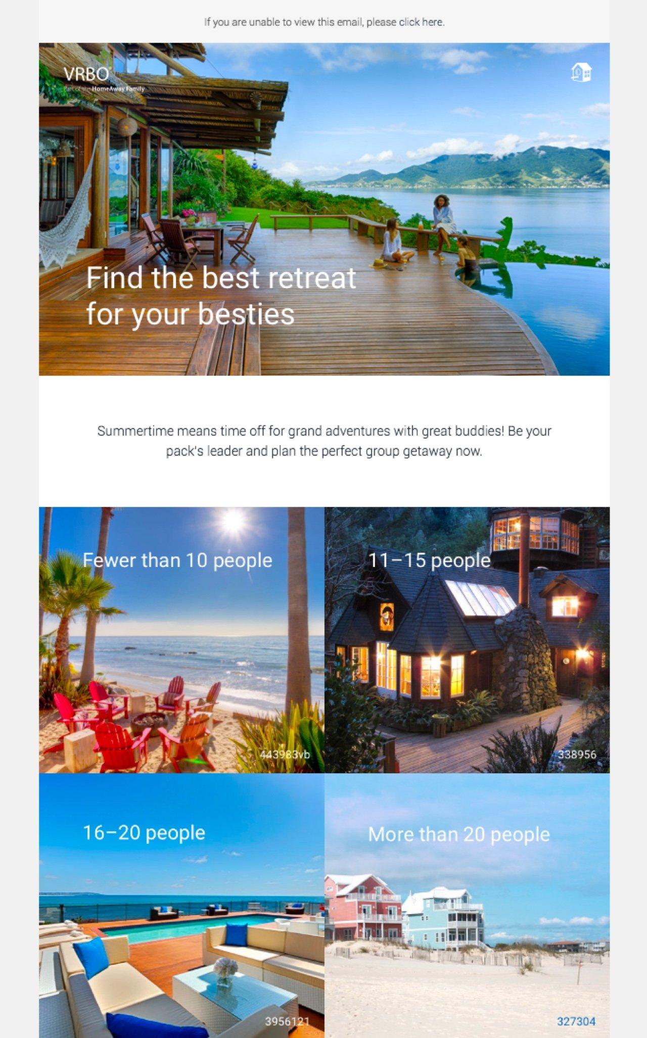 VRBO hotel newsletter example