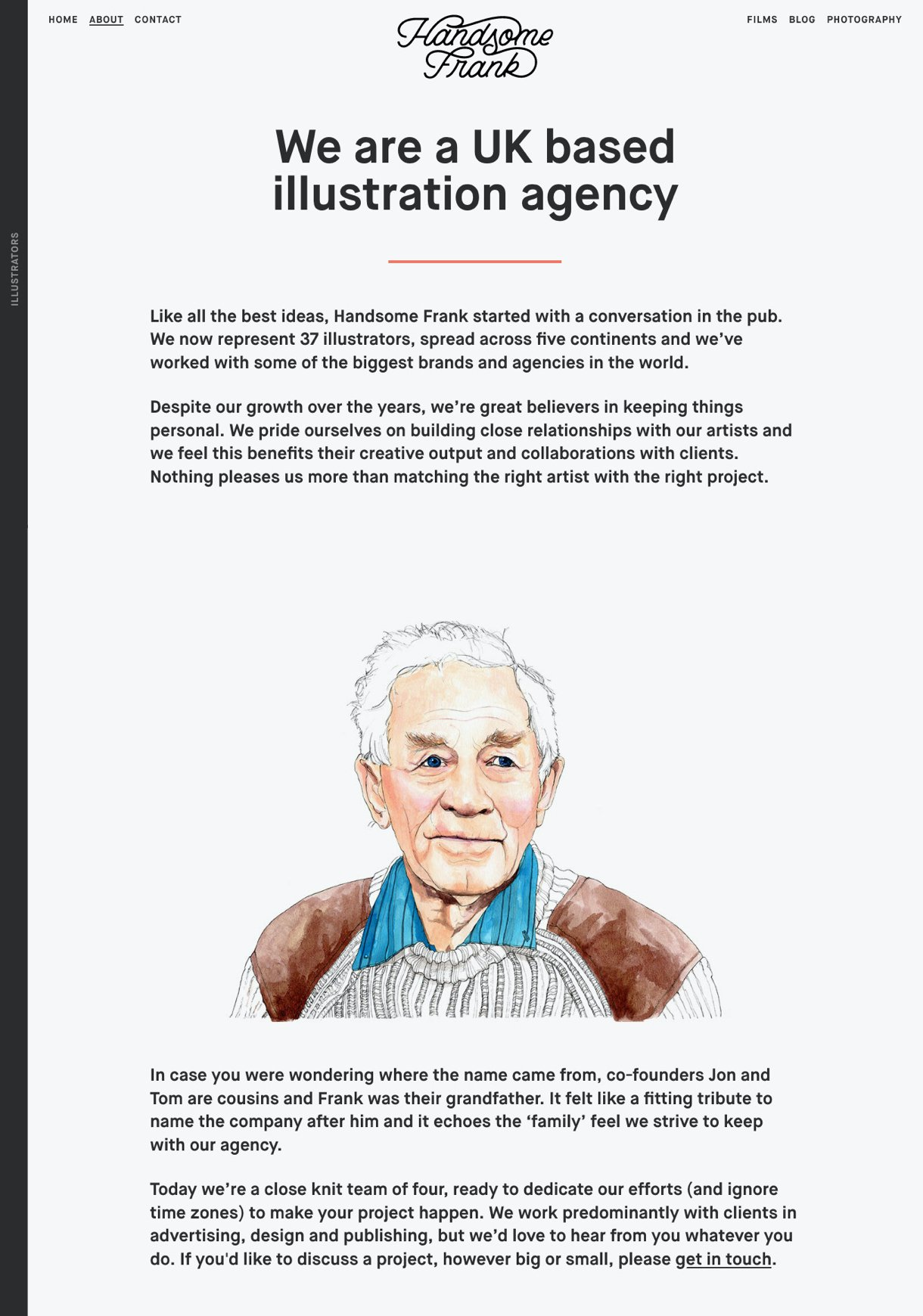 Handsome Frank agency About page white background portrait illustration