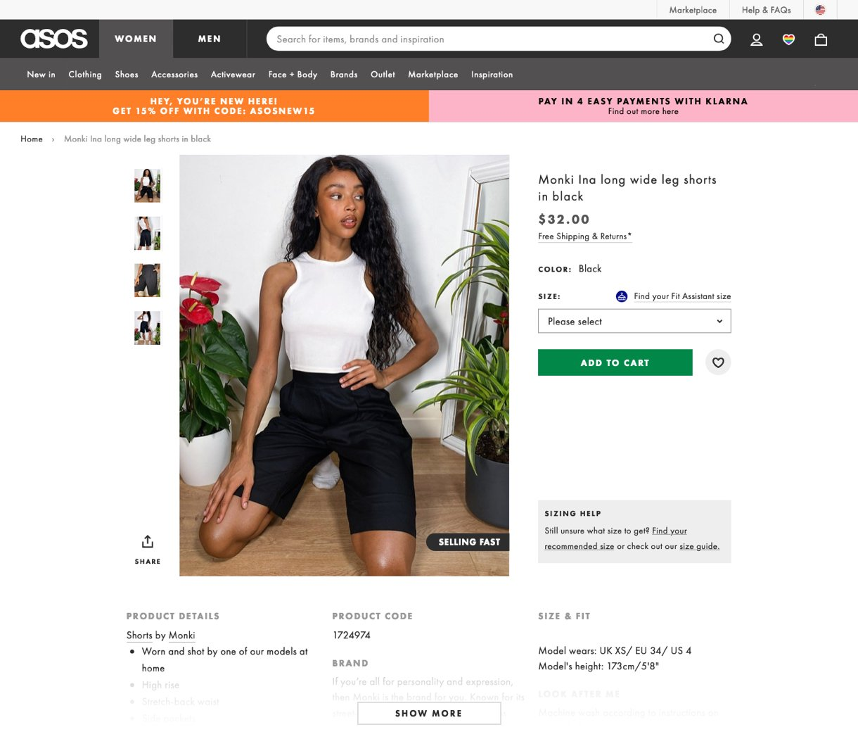 ASOS product page website showing model wearing clothes shopping example