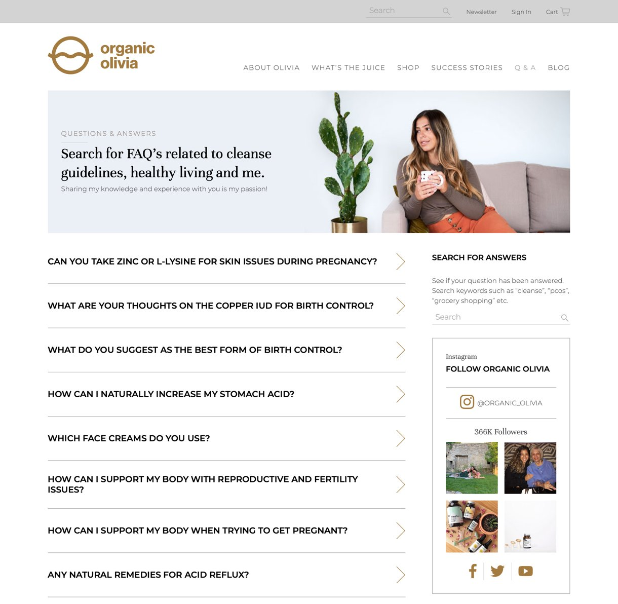 Organic Olivia website page example faqs page customer questions