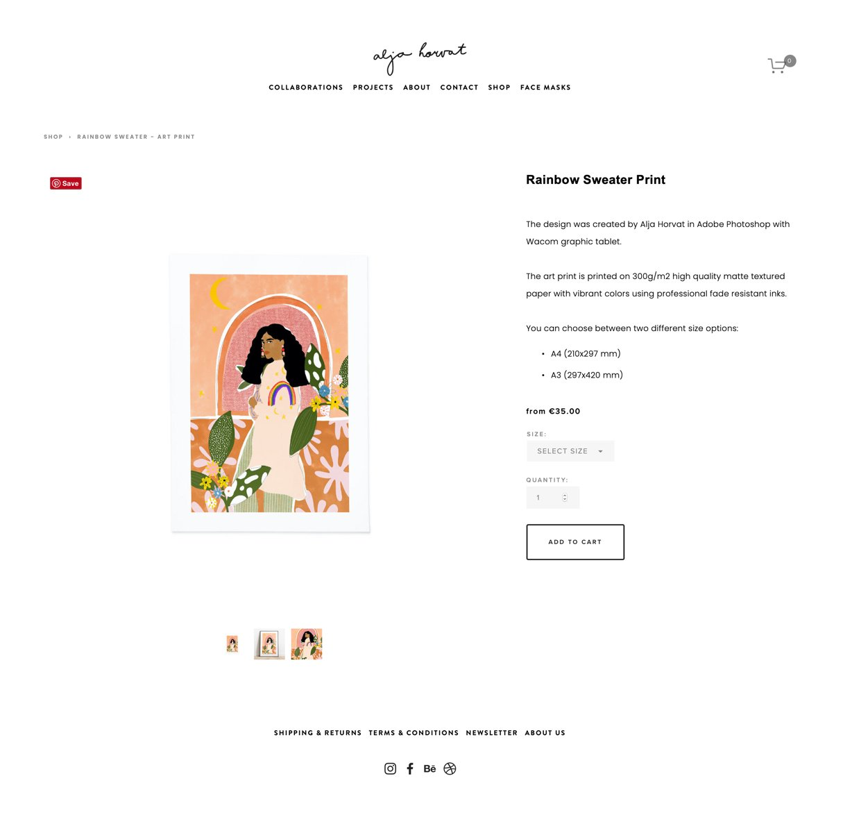 Alja Horvat product page on website white background black text minimalistic example