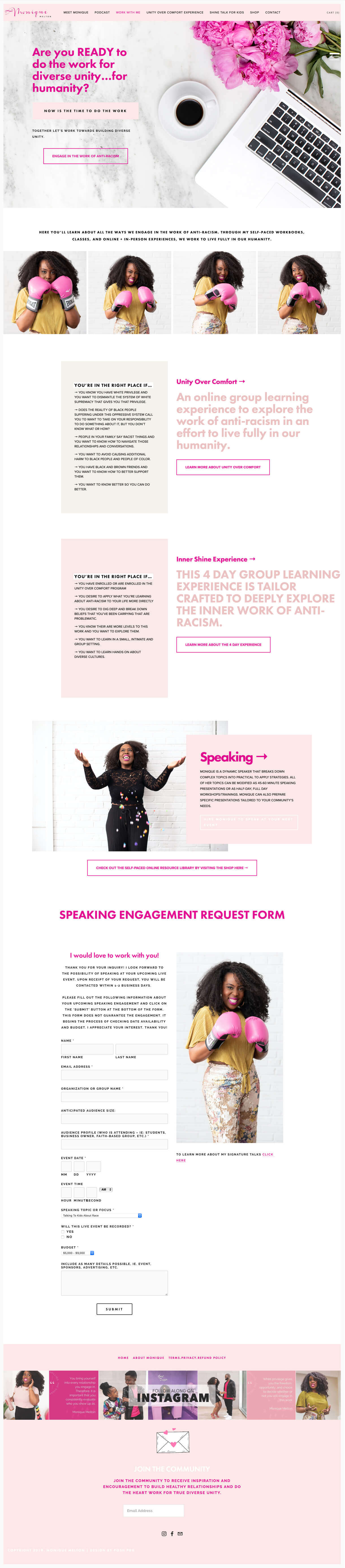 Monique Melton services web page example light pink and white branding colors