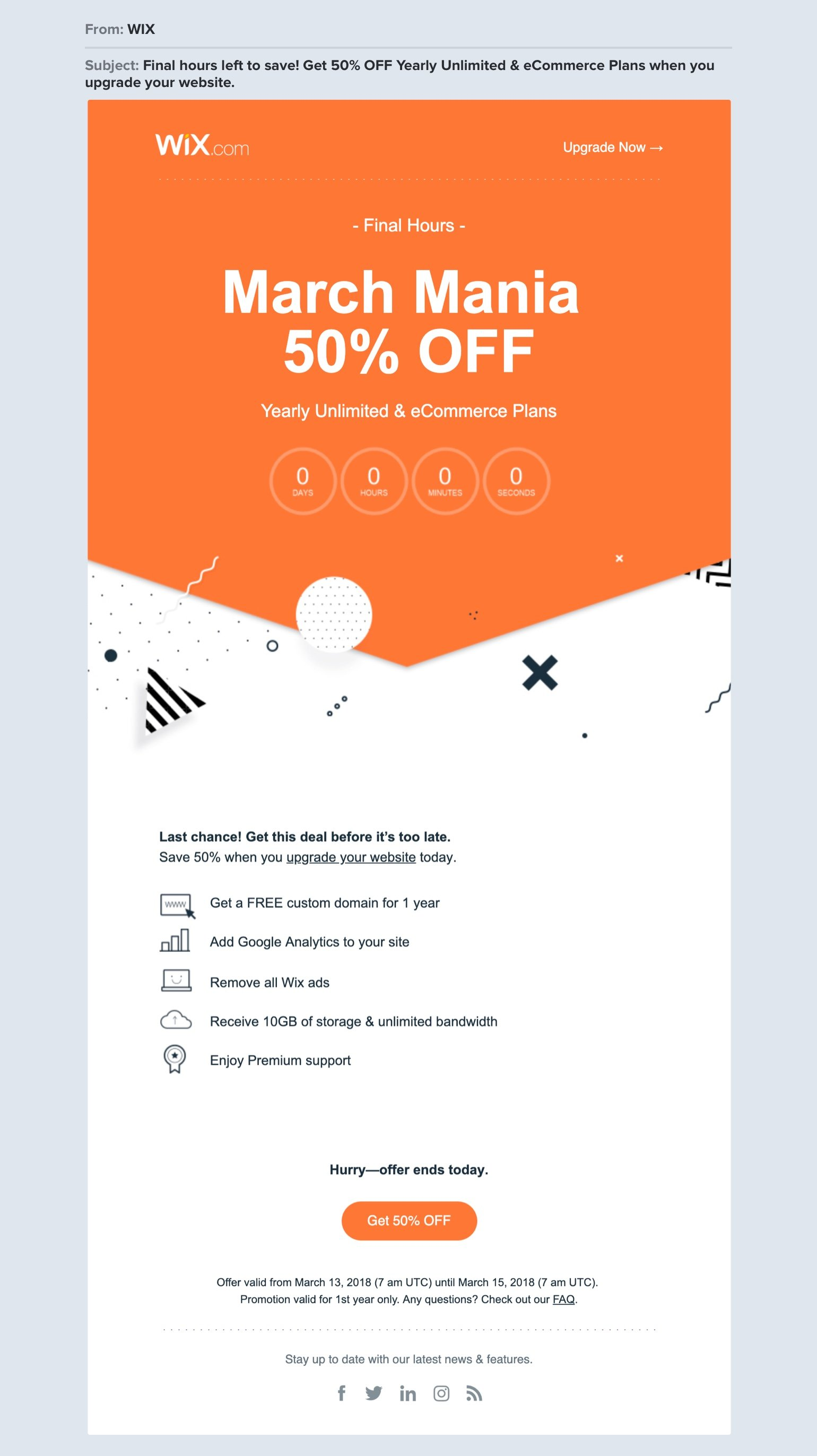 WIX sale newsletter example