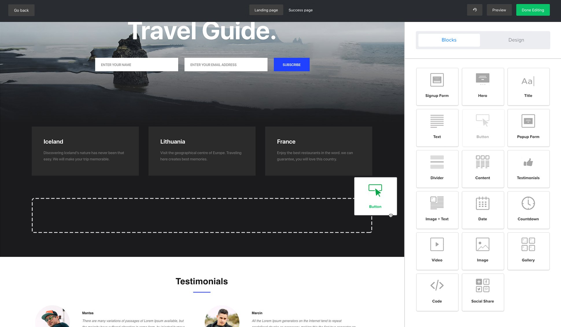 Free Landing Page Builder and Templates - MailerLite