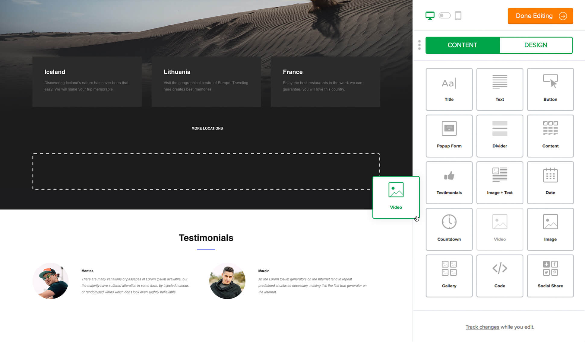 landing page drag and drop editor - MailerLite