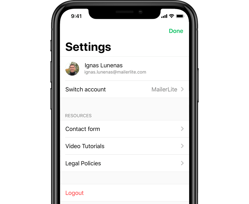 iphone email marketing app - account settings