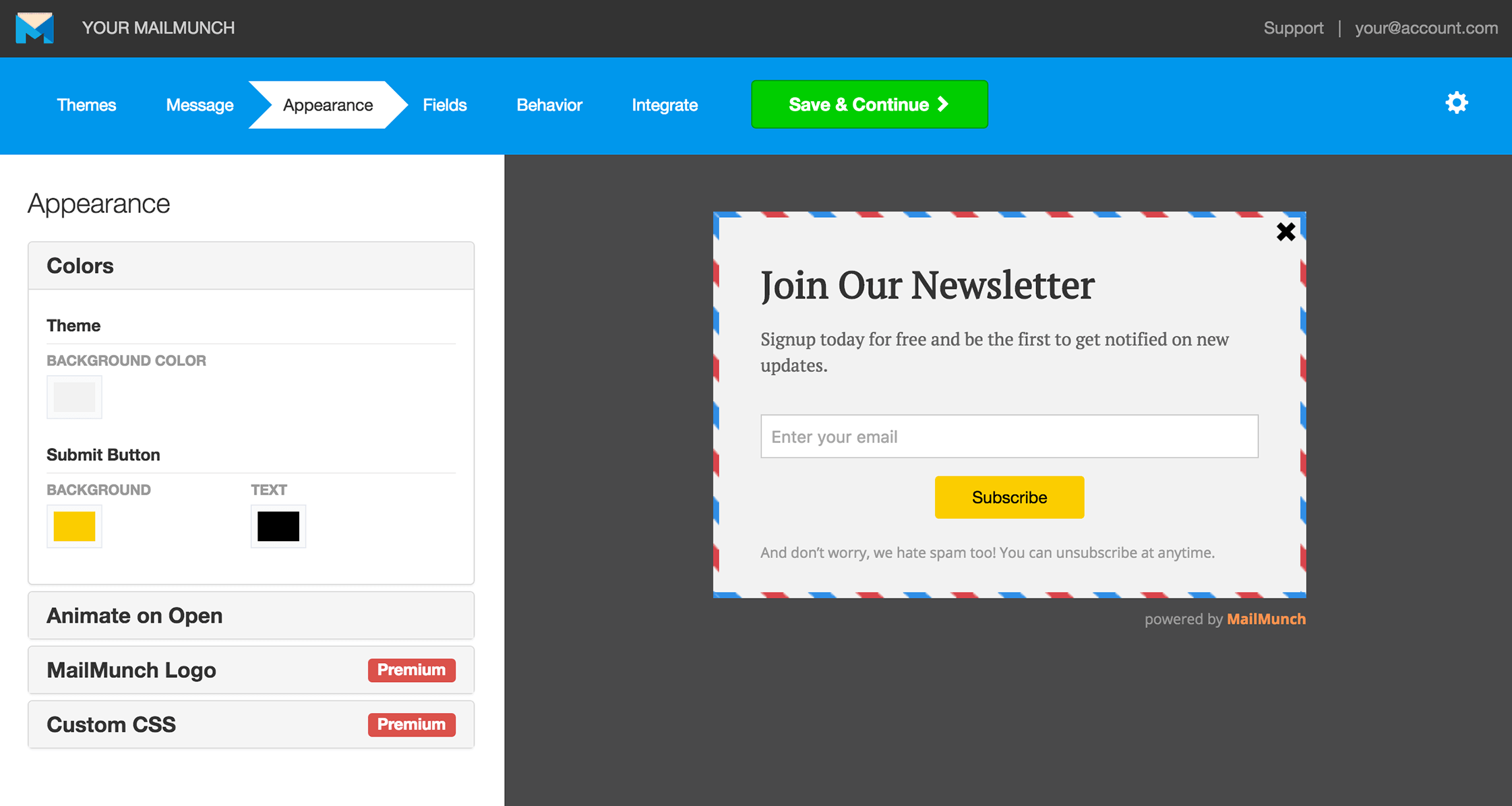 MailMunch newsletter subscribe form example